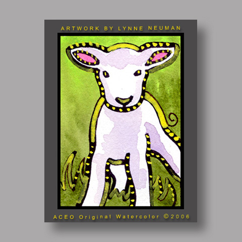 Signed ACEO Print *Lamb #887* by Lynne Neuman