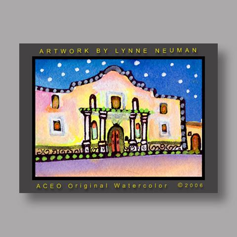 Signed ACEO Print *Alamo San Antonio Texas #1106* by Lynne Neuman