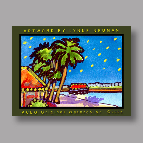 Signed ACEO Print *Tropical Beach #1109* by Lynne Neuman