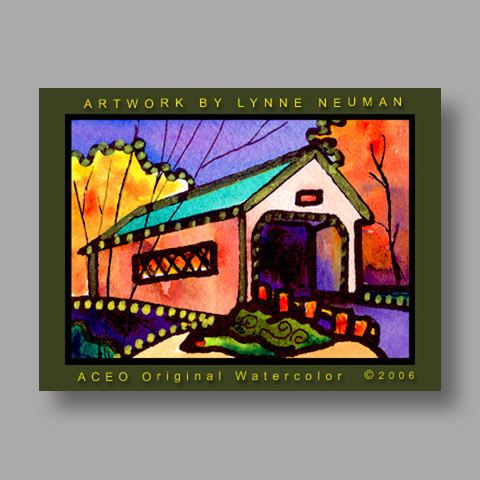 Signed ACEO Print *Covered Bridge #1129* by Lynne Neuman