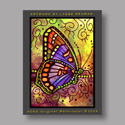 Signed ACEO Print *Red Spotted Purple Butterfly #1172* by Lynne Neuman