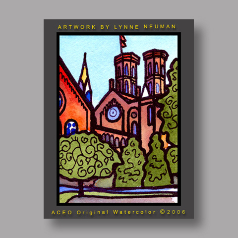 Signed ACEO *Smithsonian Castle #1197* by Lynne Neuman