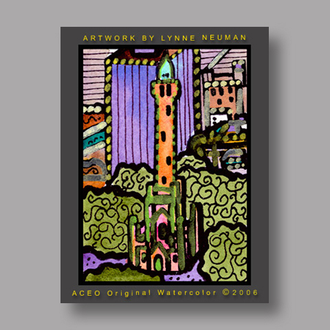 Signed ACEO Print *Old Water Tower Chicago #1223* by Lynne Neuman