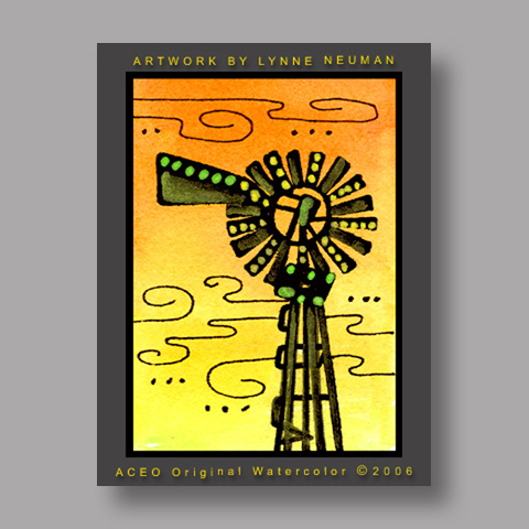 Signed ACEO Print *Farm Windmill at Sunset #1247* by Lynne Neuman