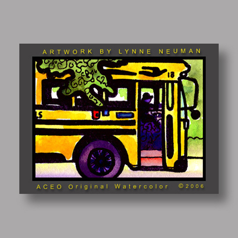 Signed ACEO Print *School Bus #1253* by Lynne Neuman