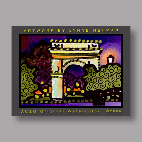 Signed ACEO *Washington Square NY #1276* by Lynne Neuman