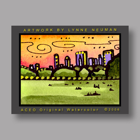 Signed ACEO *Central Park New York #1277* by Lynne Neuman