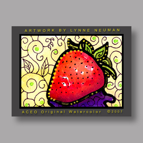 Signed ACEO Print *Strawberry #1312* by Lynne Neuman