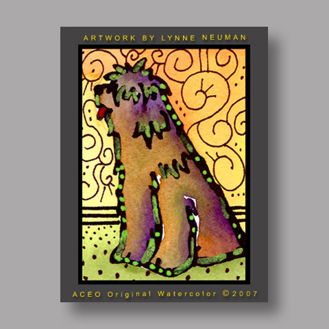 Signed ACEO Print *Briard Dog #1383* by Lynne Neuman