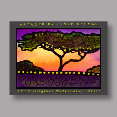 Signed ACEO *Tree Sunset #1440* by Lynne Neuman