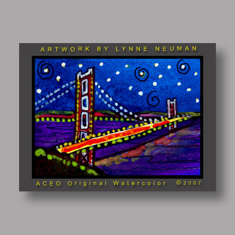 Signed ACEO Print *San Francisco Golden Gate #1449* by Lynne Neuman