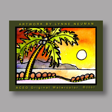 Signed ACEO *Palm Tee Beach Sunset #1602* by Lynne Neuman