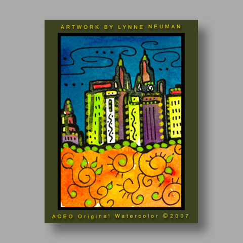 Signed ACEO Print *Central Park New York #1716* by Lynne Neuman