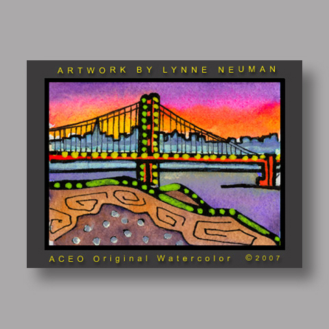 Signed ACEO Print *Golden Gate San Francisco #1875* by Lynne Neuman