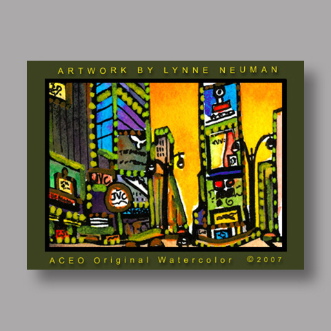 Signed ACEO Print *Time Square New York City #1876* by Lynne Neuman