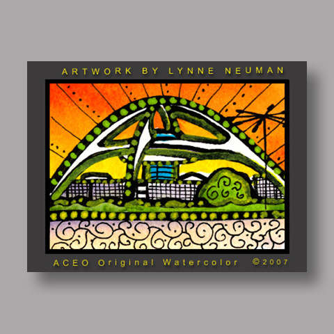 Signed ACEO Print *Los Angeles LAX Airport #1908* by Lynne Neuman