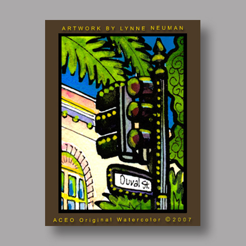 Signed ACEO *Key West Duval Street #1916* by Lynne Neuman