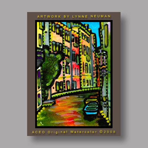 Signed ACEO Print *Venice Italy Canal #1956* by Lynne Neuman