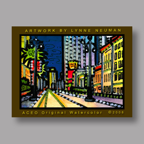 Signed ACEO Print *New Orleans Canal Street #1968* by Lynne Neuman