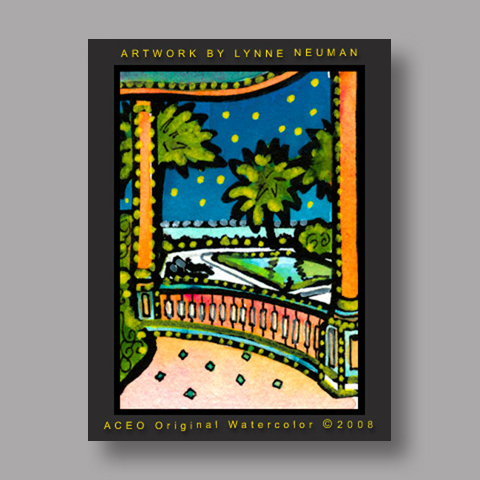 Signed ACEO Print *Key West Southernmost Hotel #1974* by Lynne Neuman