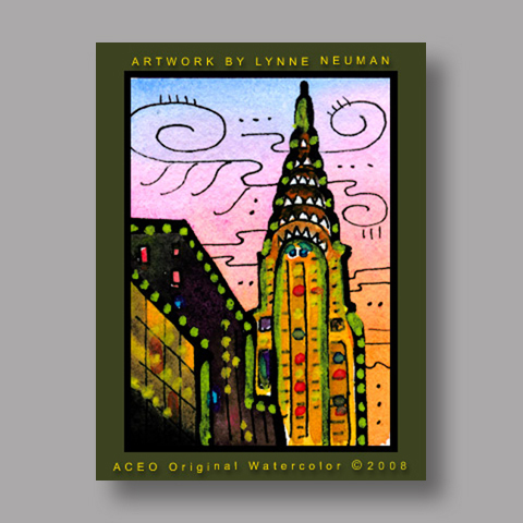 Signed ACEO Print *Chrysler Building at Sunset New York City #1989* by Lynne Neuman
