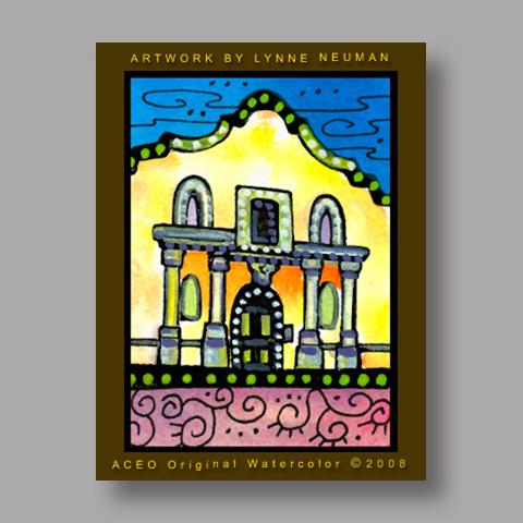 Signed ACEO Print *Alamo San Antonio Texas #2083* by Lynne Neuman