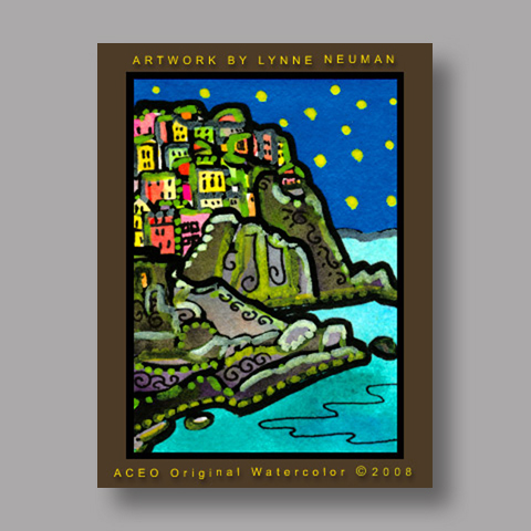 Signed ACEO Print *Cinque Terre Italy #2118* by Lynne Neuman