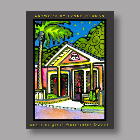 Signed ACEO Print *Lazy Way Key West Florida #2130* by Lynne Neuman
