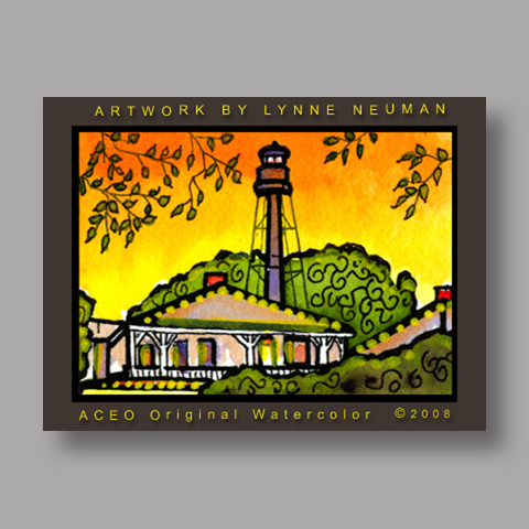 Signed ACEO Print *Sanibel Florida Lighthouse #2180* by Lynne Neuman