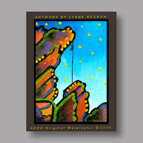 Signed ACEO *Rock Climbing #2590* by Lynne Neuman