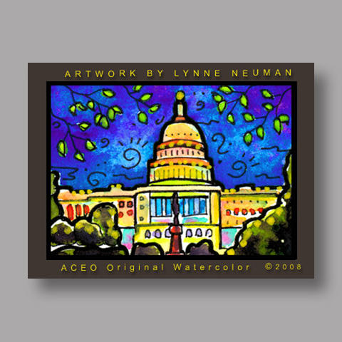 Signed ACEO Print *United States Capitol #2632* by Lynne Neuman