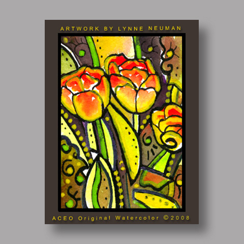 Signed ACEO Print *Tulips Flowers #2638* by Lynne Neuman