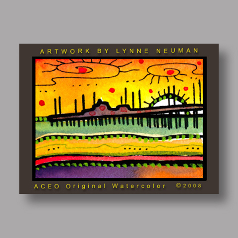 Signed ACEO *Ocean Pier Sunset #2642* by Lynne Neuman