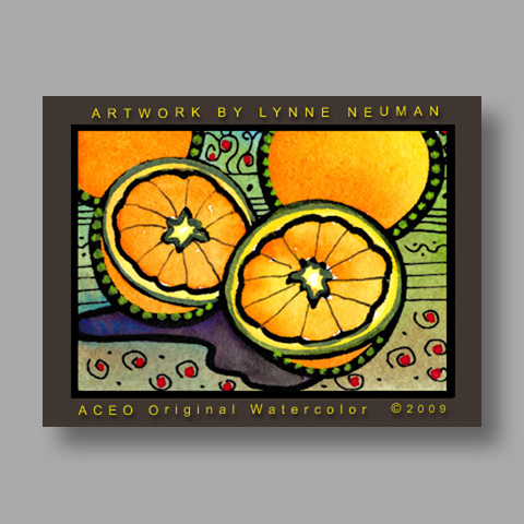 Signed ACEO Print *Oranges Fruit #2669* by Lynne Neuman