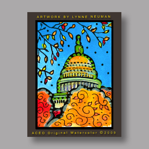 Signed ACEO *U.S. Capitol Washington #2684* by Lynne Neuman