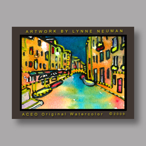 Signed ACEO Print *Venice Italy Canal #2710* by Lynne Neuman