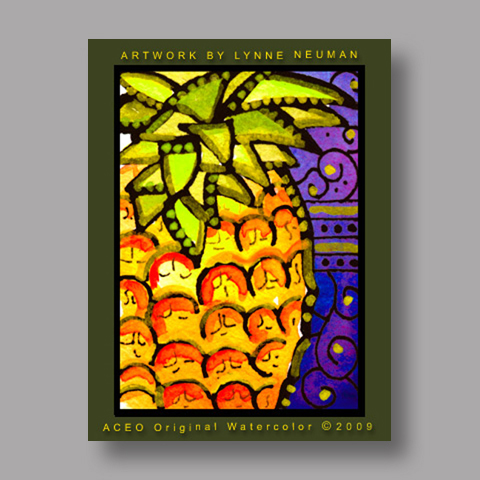 Signed ACEO Print *Pineapple Tropical Hawaiian Fruit #2870* by Lynne Neuman