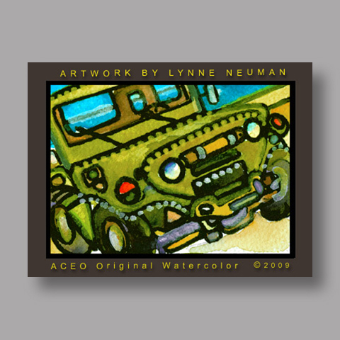 Signed ACEO Print *Military Jeep Vehicle #2882* by Lynne Neuman