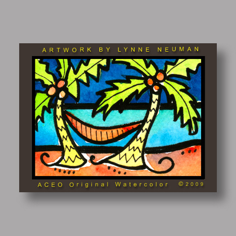 Signed ACEO Print *Relaxing Beach Hammock Palm Trees #3012* by Lynne Neuman