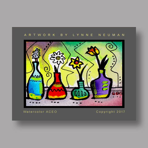 Signed ACEO Print *Flowers in Vases #4203* by Lynne Neuman
