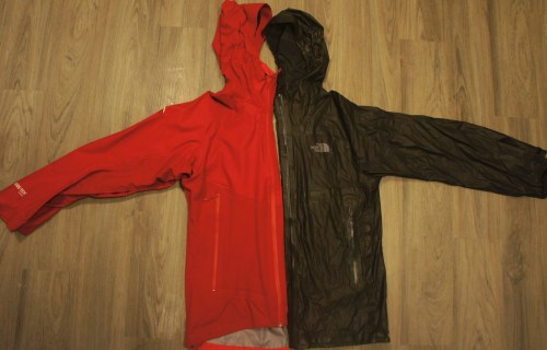 Eider Orbit Active in red weighs 14.0 oz. The North Face Hyper Air GTX in dark grey weighs 7.0 oz.