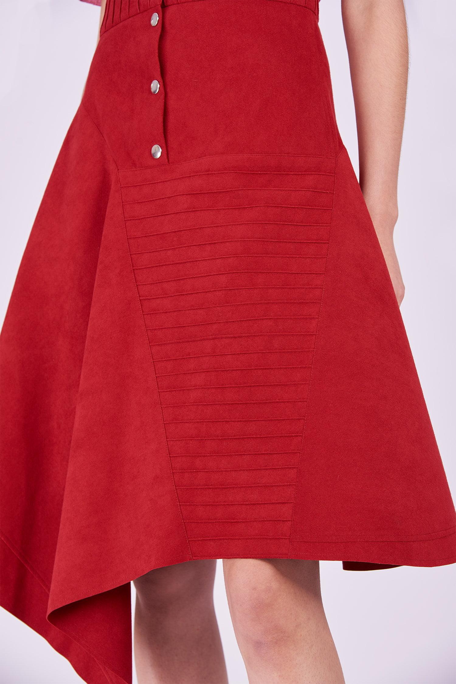 Acephala Ps2020 Red Midi Skirt T Shirt Construction Czerwona Spodnica Konstrukcyjna Czerwony Detail