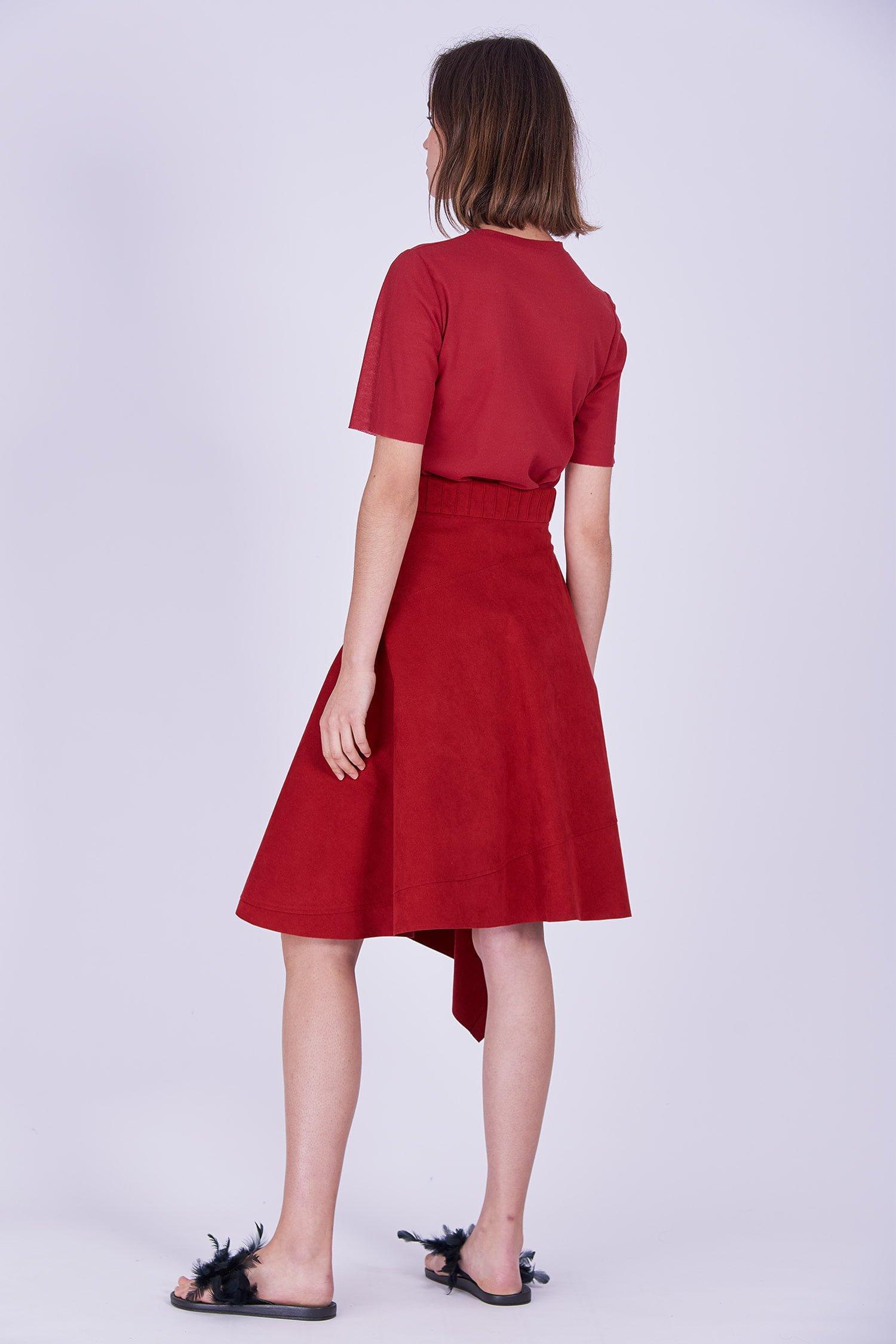 Acephala Ps2020 Red Midi Skirt T Shirt Construction Czerwona Spodnica Konstrukcyjna Czerwony Front Back