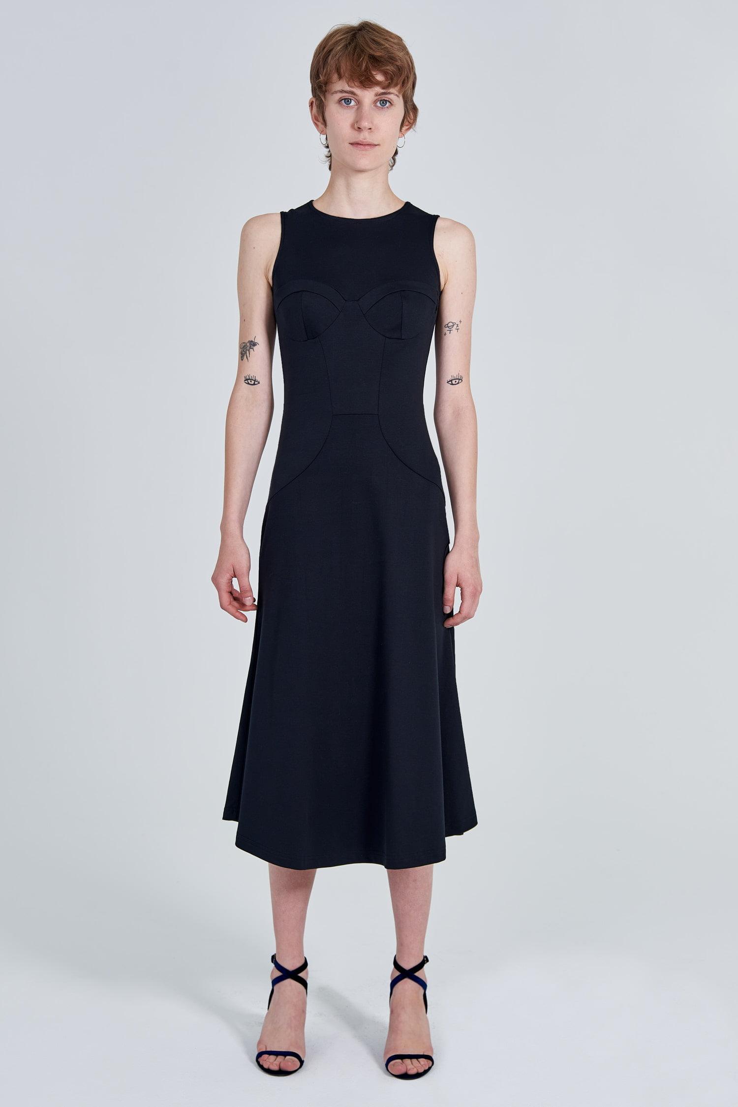 Acephala Fw 2020 21 Black Bustier Midi Dress Front
