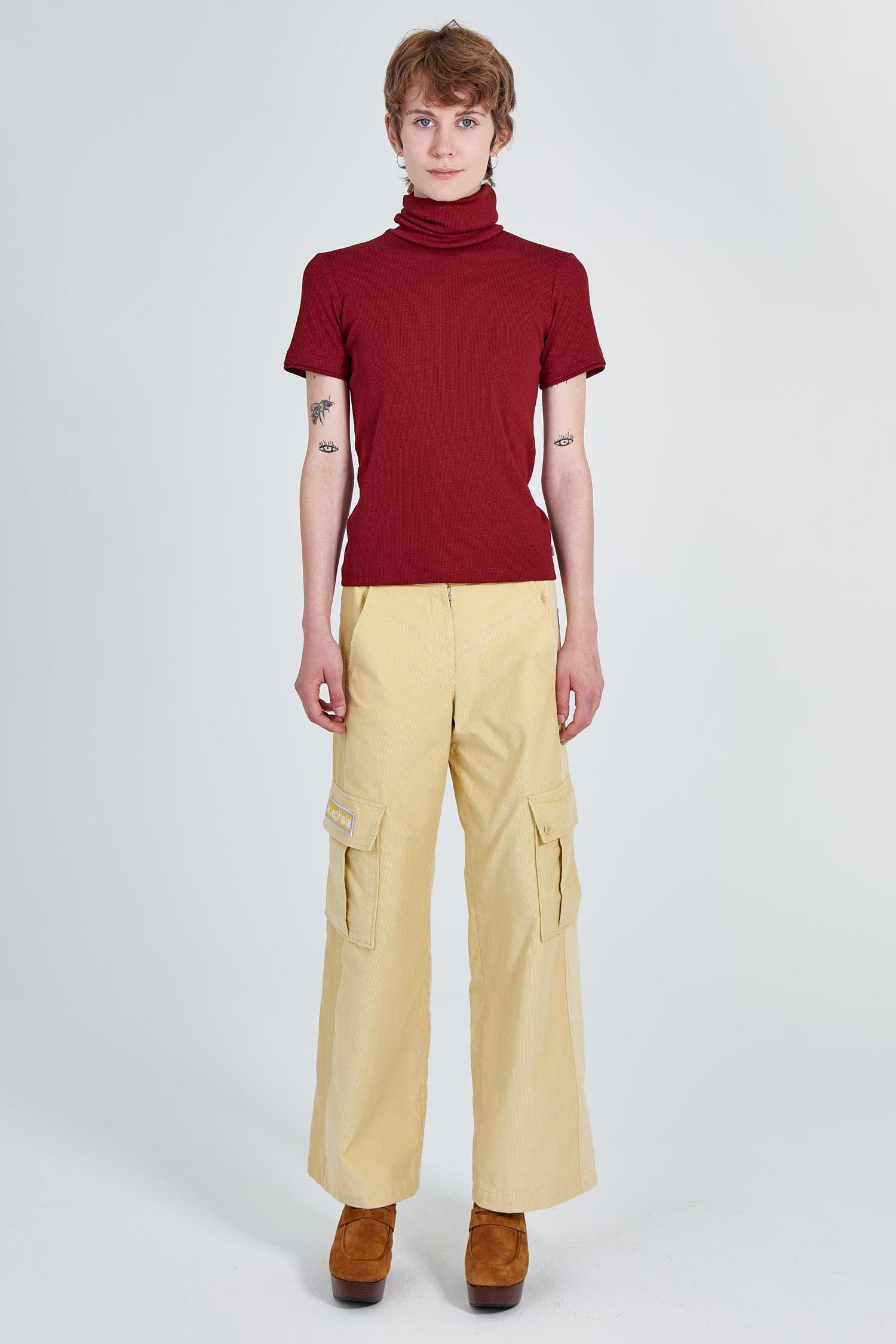 Acephala Fw 2020 21 Red Turtleneck Yellow Corduroy Trousers