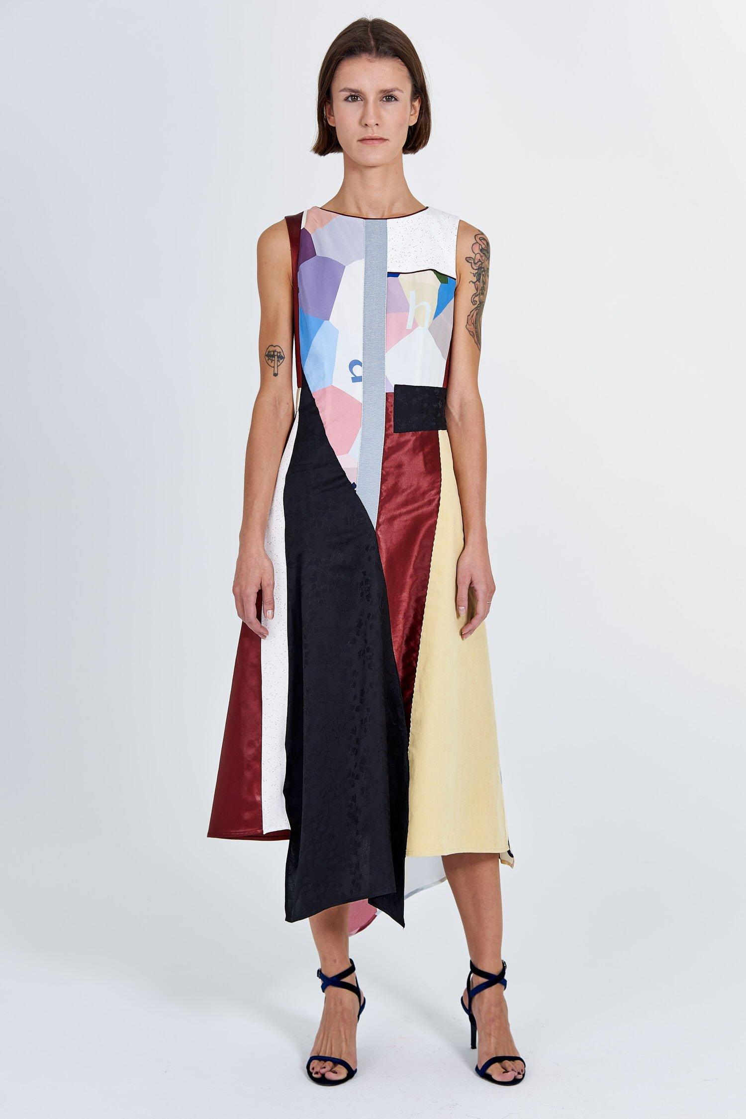 Acephala Fw 2020 21 Signature Patchwork Midi Evening Dress Front