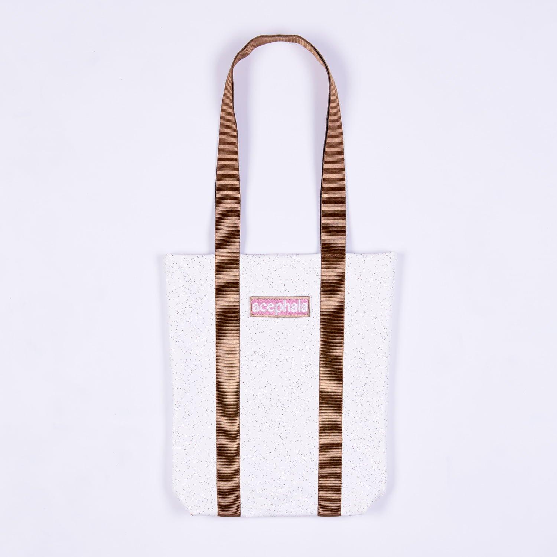 Acephala Fw20 White Tote Bag Brown Straps With Logo