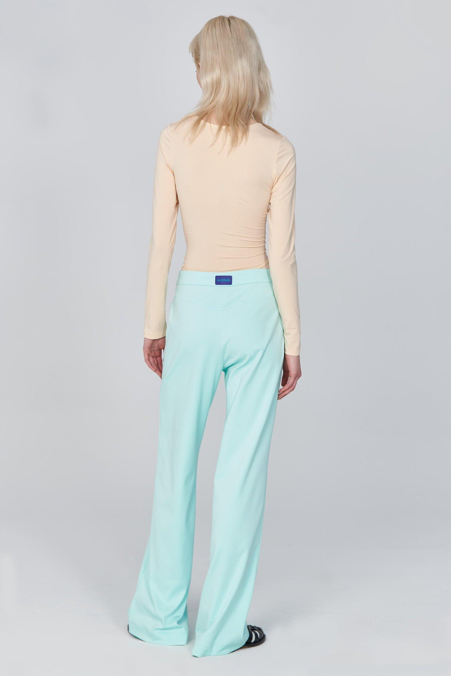 Acephala Ss21 Flared Mint Trousers Bustier Longsleeve Top Back