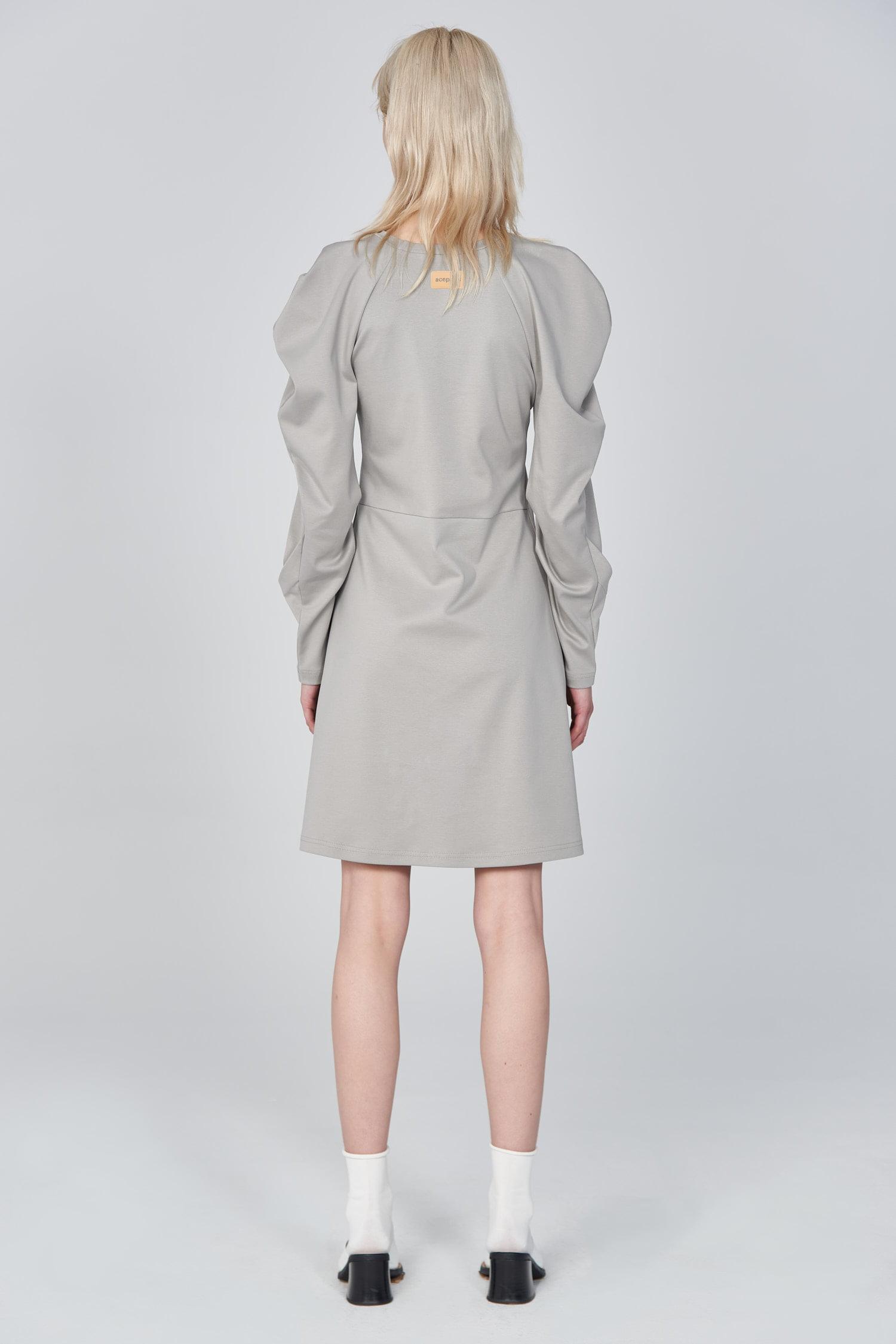 Acephala Ss21 Mini Dress With Draped Sleeves Back