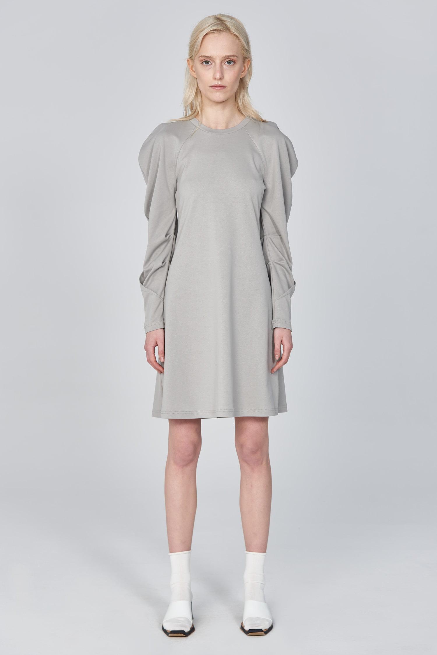 Acephala Ss21 Mini Dress With Draped Sleeves Front